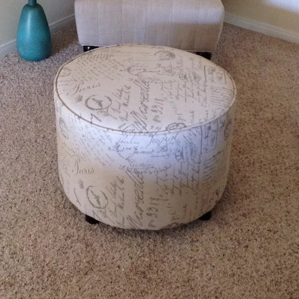 Astounding Vintage Inspired French Script Round Ottoman By Cortesi Home Beatyapartments Chair Design Images Beatyapartmentscom