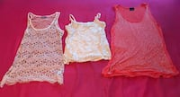 3 for $15 beaded tank is a medium from Charlotte Russe, the white flower tank is a medium from forever 21 & the orange rhinestone is a S/M by daytrip