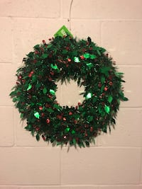 """New Holiday Tinsel Wreath - 18"""""""