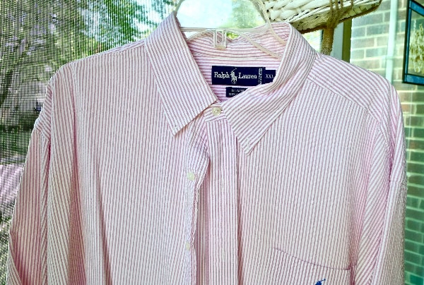 """BE VERY COOL"" in Style -Polo-Ralph-Lauren-Mens SS Shirt -XXL - Seersucker-Red-White-Stripe - $20 (Bethesda)"