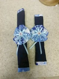 baby's blue and white floral dress