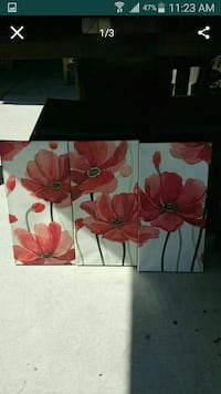 three white-and-red flower paintings North Las Vegas, 89031