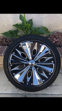 Xoni Chrome 5 on 4.75 Lug Pattern 245/40R20 tires! Located in Buena Park! Fits Camaro Firebird El Camino S10 S15 Blaser Jimmy a lot of older GM 5 lugs!  Buena Park, 90620