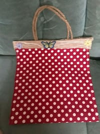 white and red polka dot print tote bag Kingston, K7L 4K6