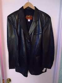 Man Stylish Leather Jacket In Black By Shark Fishiore (New)! Richmond Hill