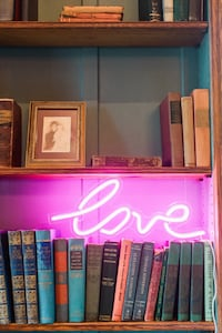 "Neon pink ""love"" sign Bryn Mawr, 19041"