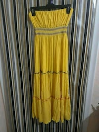 yellow and white striped, strapless dress Hialeah, 33016