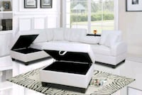 White Leather Sectional  Hyattsville