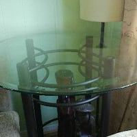 round glass top black metal base side table Barrie, L4M 6M2
