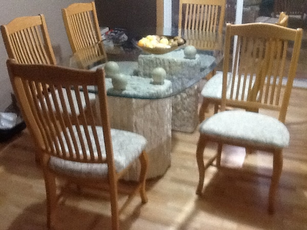 used clear top glass dining table set solid oak chairs hardly used