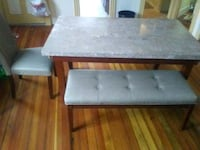 Marble top table wit four chairs and bench New Bedford, 02746