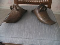 pair of brown leather slip-on shoes null