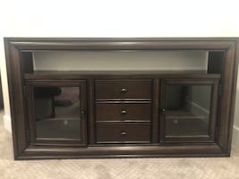 Excellent Condition Dark Wood Media Console with Glass Doors and Shelving