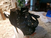 black and gray leather open-toe ankle strap heels Falling Waters, 25419