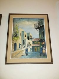 group of people walking on town painting with brown wooden frame Hallandale Beach, 33009