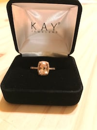 Morganite with diamond halo rose gold ring Counce