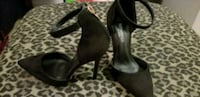 pair of black leather open-toe heeled sandals Spruce Grove, T7X