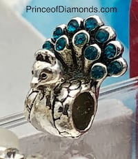 Silver coloured peacock with blue gems bead fits pandora bracelet Brampton, L6R 1X5