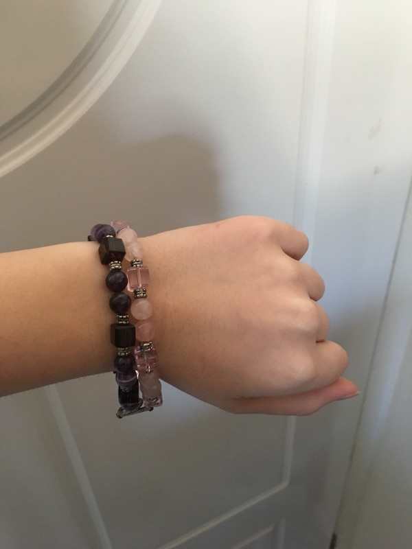 Pink & purple beaded bracelets