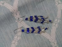 Small dainty blue and silver seed bead earrings