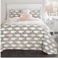 Full size pink/grey/white whale quilt & shams  Norfolk, 23503