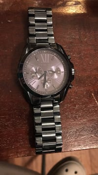 round silver Michael Kors chronograph watch with silver link bracelet Halethorpe, 21227