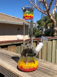"10"" Rasta Water Glass Pipe Bong Ice Catcher Brentwood"