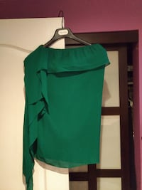 green off-shoulder bertha-collar watteau top