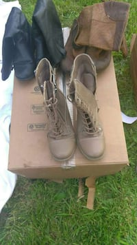 three pairs of brown, black and grey leather boots Tacoma, 98405