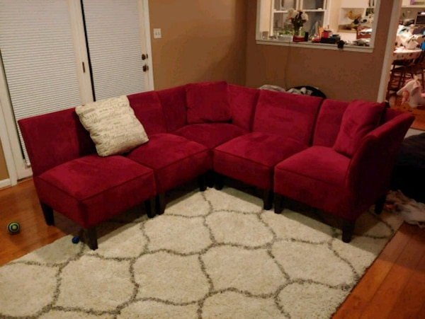 Used Burgundy sectional sofa chairs (velvet) for sale in Waldorf - letgo