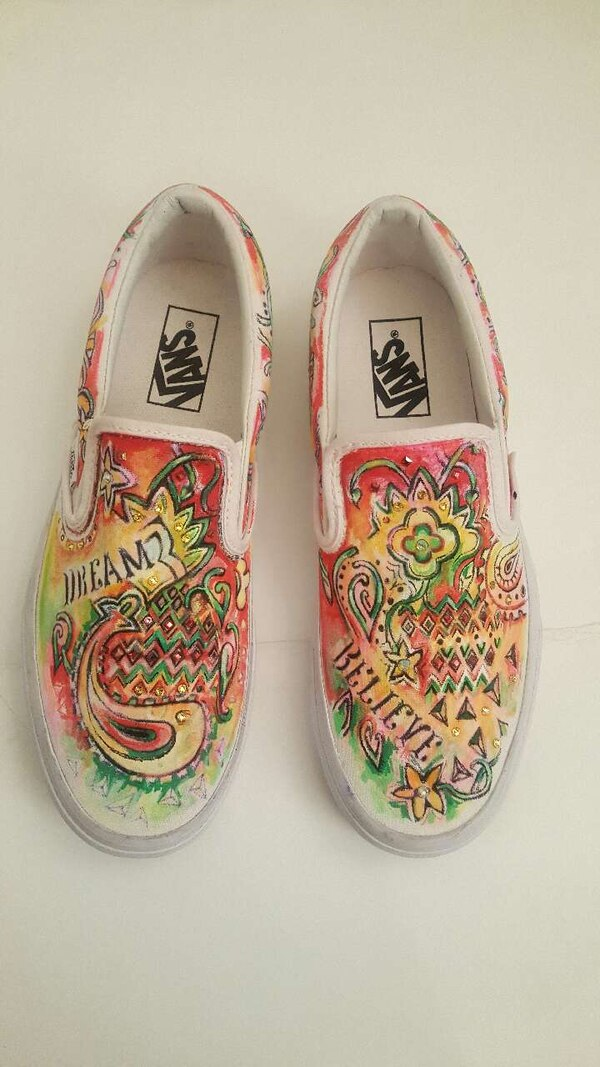 Used white red and yellow vans slip on shoes for sale in New York - letgo 6cc47a168