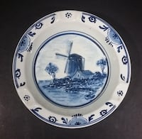 Vintage Delfts Holland Delft Blue White Raised Relief Round Windmill Ceramic Hand Painted Ash Tray ABBOTSFORD