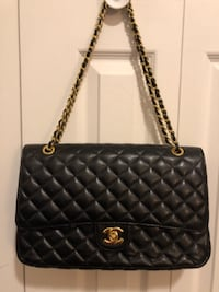 Quilted Faux Black Shoulder Handbag  DAYTON