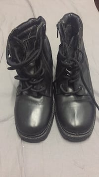 Pair of black leather side-zip combat boots Toronto, M4C 5G1