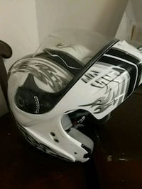 white and black half-face helmet