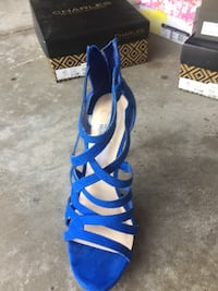 blue and white leather open-toe ankle strap heels South Lyon, 48178