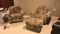 Two brown-and-red floral sofa chairs Robbinsville, 08691