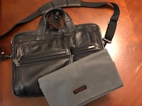 Tumi leather laptop bag briefcase 21 km