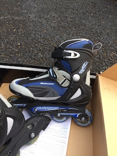 black-blue-and-gray Bladerunner inline skates in box
