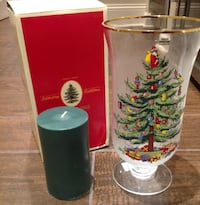 Spode Christmas Tree Glass Hurricane Candle Set Vernon Hills
