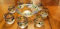 Dansk Crystal Handpainted Bowl & 6 Glasses Set Manassas Park, 20111