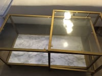 Gold glass coffee table set  90024
