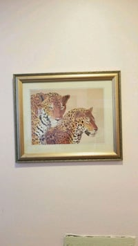 brown wooden framed painting of tiger Laredo, 78043