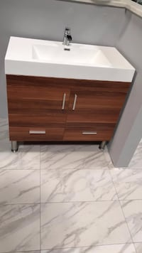 "36"" Modern Bathroom Vanity Single Sink Cabinet in Cherry Finish with Countertop Fairfax"