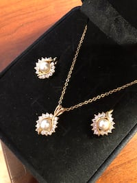 14K HGE Pearl Diamond Necklace and Earring Set