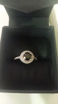 Silver diamond halo ring with black onyx  Brampton