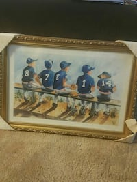 painting of baseball player boys sitting Norfolk, 23502