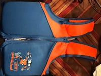 blue and orange The North Face backpack Herndon, 20171