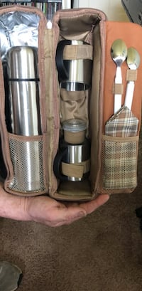 Thermos with cups and spoons and napkins in zip thermal bag with handle  Newport News, 23601