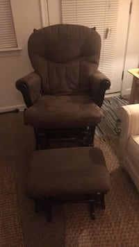 Shermag Suede Glider with matching ottoman